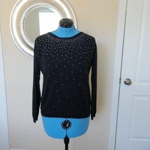Joie Black Rhinestone Embellished Sweater Size M